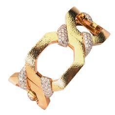 David Webb Diamond Gold Bracelet | From a unique collection of vintage link bracelets at http://www.1stdibs.com/jewelry/bracelets/link-bracelets/