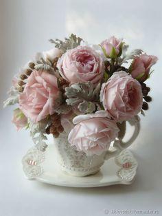 Интерьерные композиции ручной работы. Ярмарка Мастеров - ручная работа. Купить Кофе-букет Розовый шоколад. Полимерная глина. Ручная работа. Handmade.