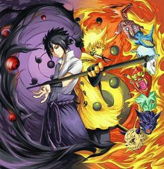 Sasuke, Naruto, Sharingan, Nine Tail Chakra Mode, cool, Bijuu, Tailed Beasts; Naruto