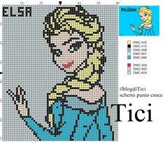 Schema punto croce Elsa di Frozen