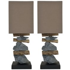 @Overstock - Safavieh Highlander Natural Stone Table Lamps (Set of 2) - A beautifully balanced composition of old tree branches and natural stone, this set of Highlander table lamps take the pristine beauty of nature to a new art form. With black base and brown shade woven in a blend of cotton and terylene.    http://www.overstock.com/Home-Garden/Safavieh-Highlander-Natural-Stone-Table-Lamps-Set-of-2/7941899/product.html?CID=214117  $186.99