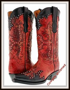 COWGIRL STYLE BOOTS Distressed Red and Silver Studded Black Trim Genuine Leather Cowgirl Boots
