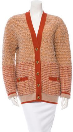From the Pre-Fall 2014 Collection. Orange and tan Chanel cashmere and silk-blend cardigan with dual pockets at front, cable knit throughout, rib knit at trim and multiple button closures at center front. Sweaters For Women, Men Sweater, Chanel Outfit, Chanel Paris, Black Cardigan, Cable Knit, Rib Knit, Knitwear, Cashmere