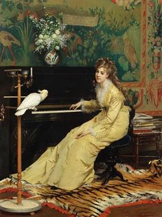 via Gustave Léonard de Jonghe, Gustave Léonard De Jonghe ou Gustave de Jonghe est un peintre belge. Gustave Léonard de Jonghe, Gustave Léonard De Jonghe or Gustave de Jonghe was a Belgian painter known for his glamorous society portraits and genre scenes. Blog Art, Piano Art, Victorian Art, Cockatoo, Oeuvre D'art, Musicals, Art Gallery, Portraits, Illustration