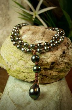 Tahitian pearls + leather                                                                                                                                                                                 More