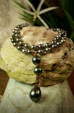 Tahitian pearls + leather #wendypearls