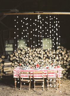 Marshmallow backdrop: http://www.stylemepretty.com/2014/12/13/20-ideas-for-a-holiday-wedding/