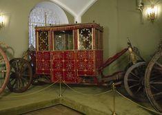 Four-seated carriage: Moscow, Workshops of the Stables Office, 1640s. Velvet - Turkey, XVII century. Belonged to a Bryansk senior Francisk Lesnovolskiy, later Boyar Nikita Ivanovich Romanov.
