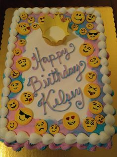 Emoji Cake to Match a Party Invitation.  www.VintageBakery.com  (803) 386-8806