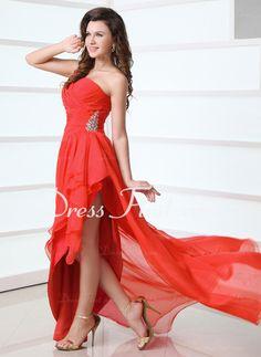 strapless asymmetrical chiffon prom burgundy