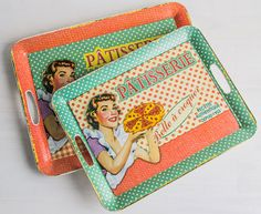Serve food and drink on retro trays Workshop Ideas, Trays, Lunch Box, Food And Drink, Retro, Drinks, Kitchen, House, Drinking