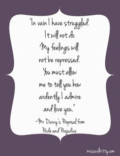 Mr Darcy's Proposal from Pride and Prejudice
