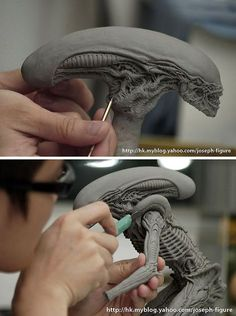 Sculpting the Dog Alien figure | Joseph Sang via fukubeetoe