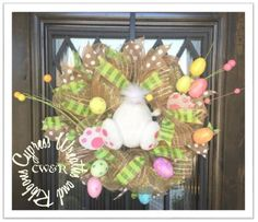 Easter Bunny Egg Pastel and Tan Wreath