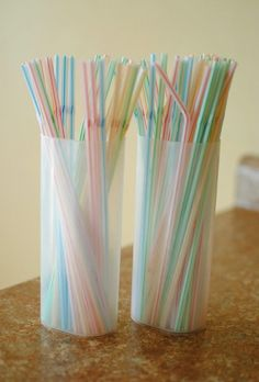 Use Crystal Light Containers for Storing Straws.