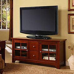 @Overstock - Enhance your home decor with a solid wood TV console  Entertainment center features a stylish contemporary design  Living room furniture features a rich solid wood constructionhttp://www.overstock.com/Home-Garden/52-inch-Solid-Wood-TV-Console-with-Drawers/4470988/product.html?CID=214117 $312.99