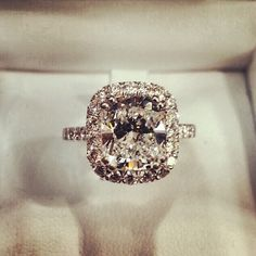 Cushion Cut Halo Engagement Ring with Thin Encrusted Band <3 what a beauty!