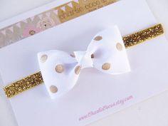 Baby/Girls Bow Headband- Metallic Gold Polka Dot Bow, Gold Glitter Headband