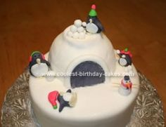 Igloo with penguins cake