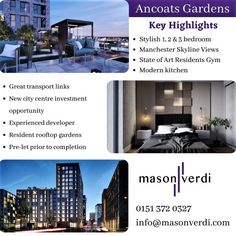 Ancoats Gardens is a sustainable, new-build development aimed at professionals seeking a sophisticated living experience in the heart of Manchester city centre (Liverpool). Offering number of amenities, private gym, coffee roastery and communal space and Great transport links. Call us ((+44) 151 372 0327) for more information. #ancoatsgardens #manchesterproperty #liverpoolproperty Manchester City Centre, New City, New Builds, Rooftop, Liverpool, Contemporary Design, Transportation, Investing, Skyline