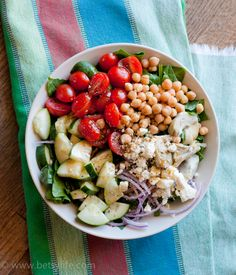 Greek Salad with Garbanzo Beans. Healthy and super fast recipe perfect for lunch on the go.