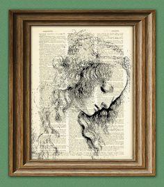 Beautiful Woman from Leonardo Da Vinci sketch on vintage dictionary page book art print Davinci. By collageOrama.