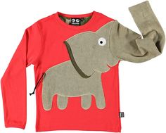 Hibiscus red elephant long sleeved t-shirt by Ubang Babblechat Baby Shirts, Boys T Shirts, Baby Boy Outfits, Kids Outfits, Kids Nightwear, Baby Clothes Patterns, Boys Wear, Clothing Hacks, Fashion Kids