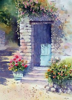 Watercolor - Sunlit Door with Geraniums by Ann Mortimer Watercolor Landscape, Watercolour Painting, Watercolor Flowers, Painting & Drawing, Watercolors, Watercolor Artists, Painting Abstract, Acrylic Paintings, Watercolor Illustration