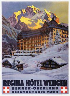 SWITZERLAND - Waldemar Fink, Regina Hotel Wengen #Vintage #Travel