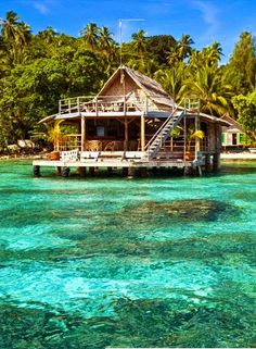 Attractive place of Solomons Island. more with healing sounds: Dream Vacations, Vacation Spots, Places To Travel, Places To See, Places Around The World, Around The Worlds, Floating House, Boat Design, Solomon Islands