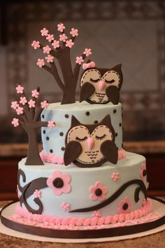 Owl Baby Shower Cake-only I want would want mine without the owls or standing trees, maybe instead more flowers
