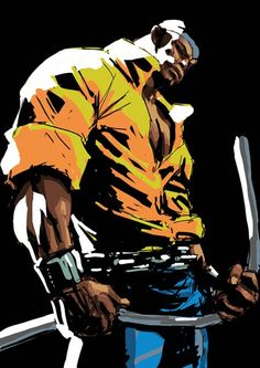 Power Man (Luke Cage) the first African-American superhero Black Characters, Comic Book Characters, Comic Book Heroes, Marvel Characters, Comic Books Art, Comic Art, Marvel Comics Art, Marvel Heroes, Marvel Defenders