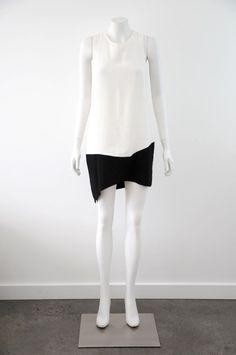 Maurie&Eve  Women s Strapless Black & White Cotton/Silk Dress {Size 10}