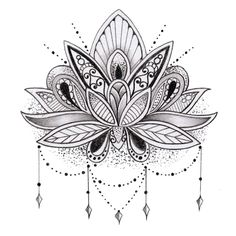lotus tattoo black and white - Google Search