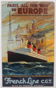 French Line Travel Poster sold $977 www.fairfieldauction.com