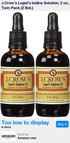 Iodine used in J.Crow's Lugol's solution is derived from mined crystals, not from shellfish * Approximately 1200 vertical drops per 2 oz. container * To use as a water purifier add 3-6 drops per liter of water * Always fresh does not expire