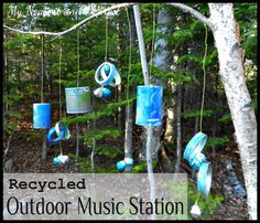 Outside Music Station: 20 Fabulous DIY Musical Games & Instruments For Toddlers Outdoor Play Spaces, Outdoor Fun, Outdoor Crafts, Outdoor School, Music Station, Music Wall, Music Music, Outdoor Classroom, Outdoor Learning