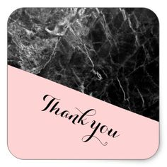 Black and Pink Marble Wedding Thank you. Square Sticker