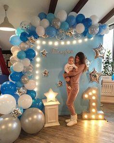 Little Man Baby Shower Party-Ideen Birthday Balloon Decorations, Birthday Balloons, Baby Shower Decorations, Baby Boy Birthday Decoration, Parties Decorations, Shower Party, Baby Shower Parties, Baby Boy Shower, Man Shower