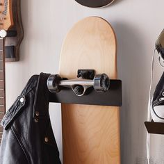 Our Skateboard Wall Display turns your board into super cool wall decor and safely stores it when you're not showing off your skills. Major bonus: It has side hooks to hang your helmet and jacket so you can easily keep track of those too. Cool Wall Decor, Wall Shelf Decor, Wall Hooks, Skateboard Rack, Skateboard Decor, Guitar Display, Guitar Storage, Pottery Barn Kids Backpack, Hat Storage