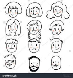 Set People Faces Men Women Face Stock Vector (Royalty Free) 474338797 - Icon People - Ideas of Icon People - Set of people faces. Men and women face icon. Mini Drawings, Doodle Drawings, Easy Drawings, Drawing People Faces, Drawing Cartoon Faces, Les Doodle, Doodle Art, Mouse Illustration, Character Illustration
