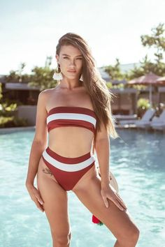 7a07e4e436099 Kira Bikini Top - tube bikini top with the white stripe