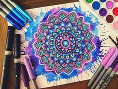 Hey guys! A blue and purple mandala splash, I hope you guys like it! If you wondering I used sharpies, bics and chameleon pens to add colour Thanks for all the support and love❤️ Hope your all having an awesome day!