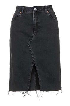 MOTO Split Front Denim Skirt