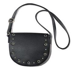"Grommet Saddle Crossbody bag: Leather like crossbody with adjustable straps the handle drop is 23"" L and a magnetic closure. (7 1/2"" H x 9'L x 2 1/2' D) It has one inner zip and two slip pockets. Fully Lined. $19.99. Visit my website at youravon.com/cindym92 for more!  Join my team at startavon.com reference code: cindym92"