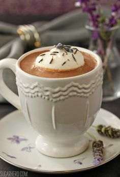Lavender Hot Chocolate - rich homemade hot chocolate with a delicate lavender flavor! | From SugarHero.com