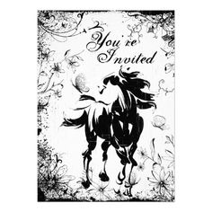 Shop Horse, Flowers and Butterflies Birthday Invitation created by SilhouetteCollection. Horse Birthday Parties, Butterfly Birthday Party, Birthday Party Invitations, Flower Birthday, Birthday Ideas, Horse Flowers, Horse Party, Happy Birthday Cards, Invitation Cards