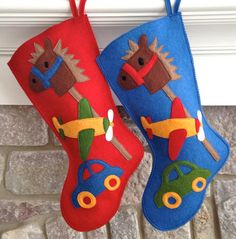 Handmade Wool Felt Christmas Stocking: Celebrate with a Baby Boy's First Christmas Toys Stocking at the Holidays! on Etsy, $74.82 AUD
