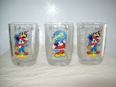 McDonalds Mickey Mouse Walt Disney World Square Glasses Set of 3 2000