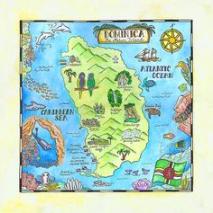 Dominica: The Nature Island My most recent commission. Ink and watercolor, x The Caribbean island of Dominica , not to be conf. Map Projects, School Projects, Kensukes Kingdom, Imaginary Maps, Maps For Kids, Island Map, Thinking Day, Cartography, Map Art